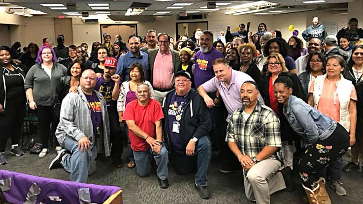 Alex Caputo-Pearl with SEIU members at the HOR meeting, May 23, 2018.