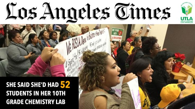 LA Times She said she'd had 52 students in her 10th grade chemistry lab