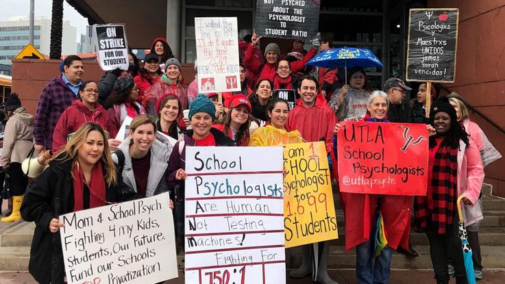 School Psychologists picket outside a central area school on Jan. 18, 2019.