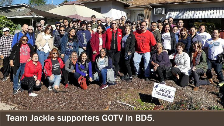Jackie Goldberg and supporters GOTV in BD5.