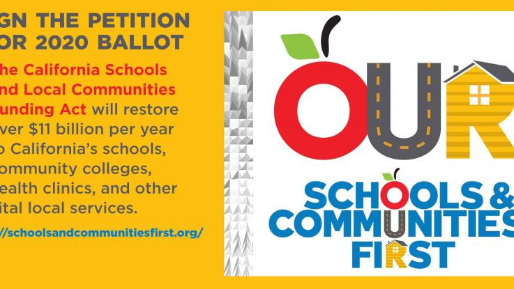 Schools & Communities First graphic to Sign Petition for 2020 Ballot