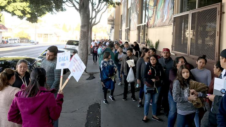 CHIRLA Photo. Lines of immigrants outside of CHIRLA's offices waiting to get help.