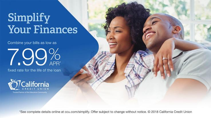 California Credit Union Consolidation loan 7.99 percent ad with African-American woman with arm around man's neck smiling looking off into the distance.