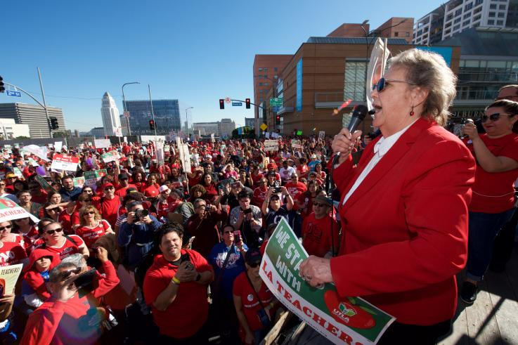 Jackie Goldberg speaks to thousands during UTLA's march in downtown Los Angeles on Saturday, Dec. 15, 2018.