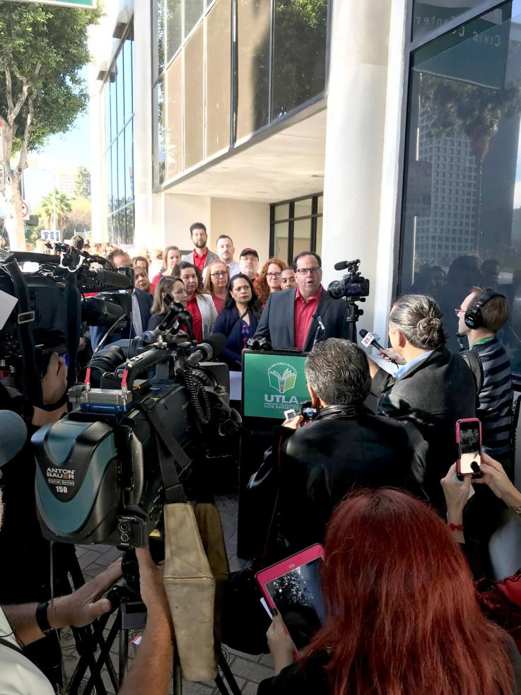 Alex Caputo-Pearl outside LAUSD at News Conference on Nov. 7, 2017.