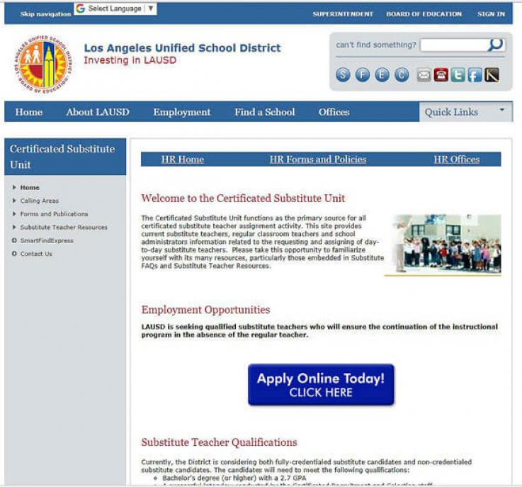 LAUSD Subtitute Website