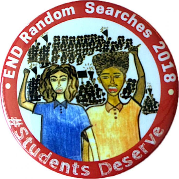 Blacl Lives Matter button against LAUSD random searches. Sketches of two young ethnic kids rising arms with black sketches of groups of people in back in clusters with picket signs and mega phones.