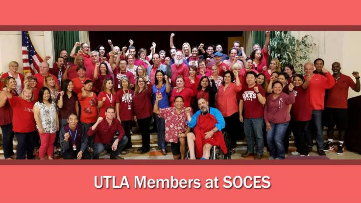 UTLA President Alex Caputo-Pearl with UTLA members at SOCES in red tee group shit in the auditorium.