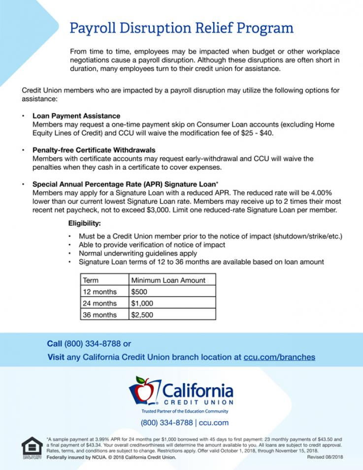 California Credit Union debt relief assistance during strike flier with rates.