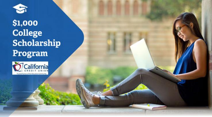 CCU scholarship advertisement college young Asian girl with glasses sitting on campus ground on a laptop smiling and on left-hand side there is a cap and gown logo on top and writing saying $1000 college scholarship program