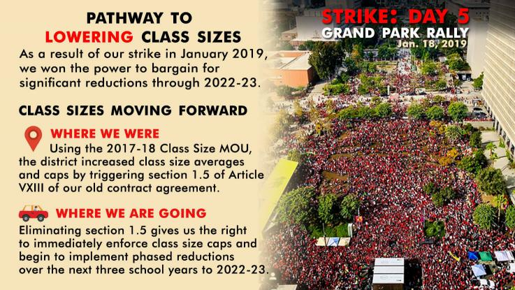 Graphic of Pathways to lowering class sizes with were we were to were we are going. On the right is an overhead photo of a large crowd at Grand Park during day 5 of our strike on Jan. 18, 2019.