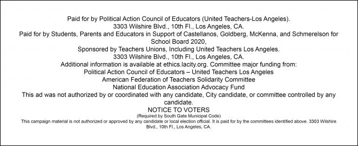 Board of Ed political Disclaimer