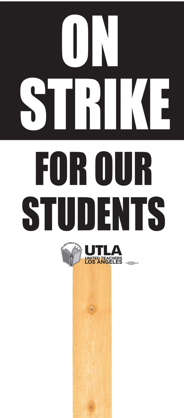 UTLA Black and white picket sign graphic