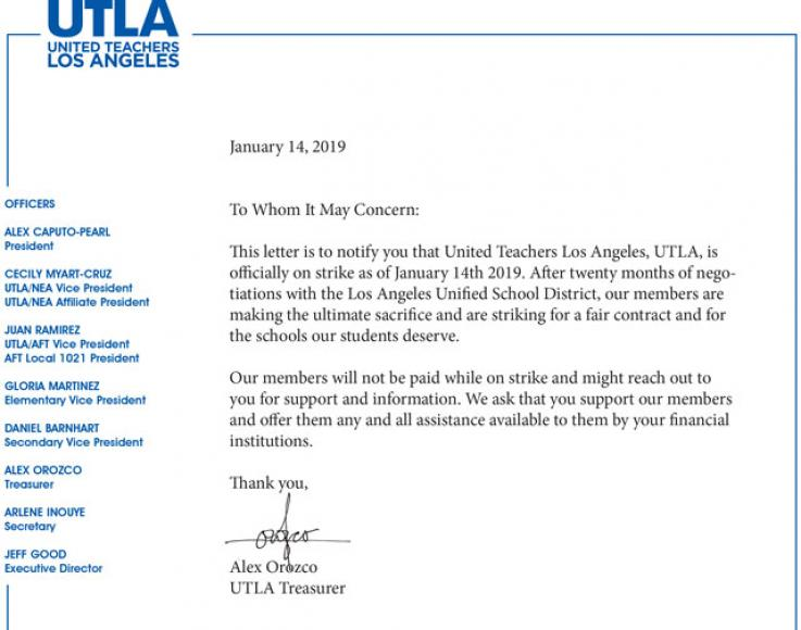 UTLA Strike Letter for members to give to creditors while on strike.